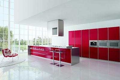 Moda y muebles de cocina modernos de color rojo - Reformas en Madrid